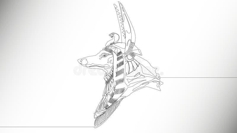 Guden Anubis stock illustrationer