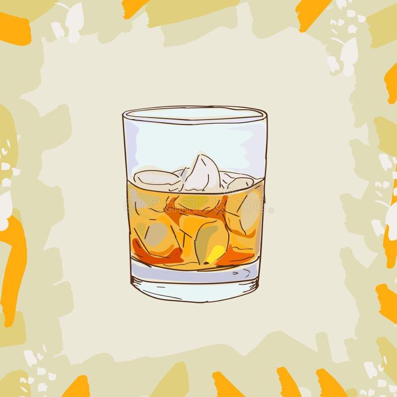 Gudfadercoctailillustration Utdragen vektor för alkoholiserad stångdrinkhand Popkonst royaltyfri illustrationer