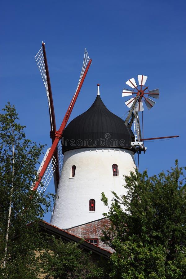 Gudhjem Windmill, Bornholm, Danmark royaltyfri fotografi
