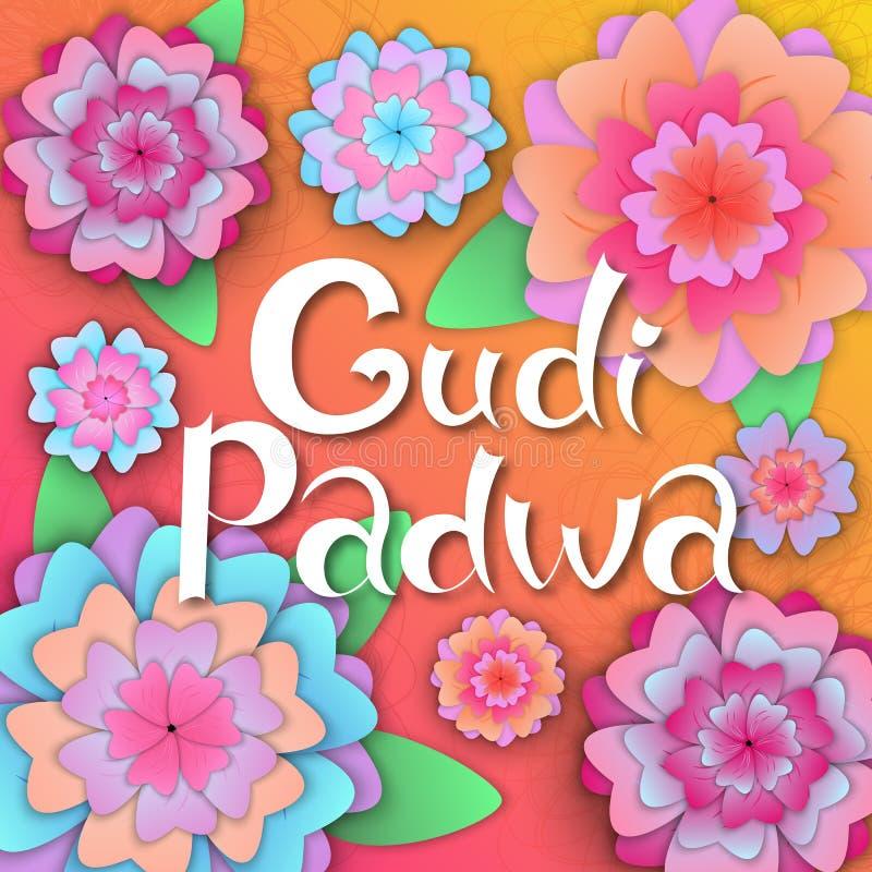 Gudi Padwa Hinduiskt nytt år Räcka bokstäver på banret med pappers- blommor royaltyfri illustrationer