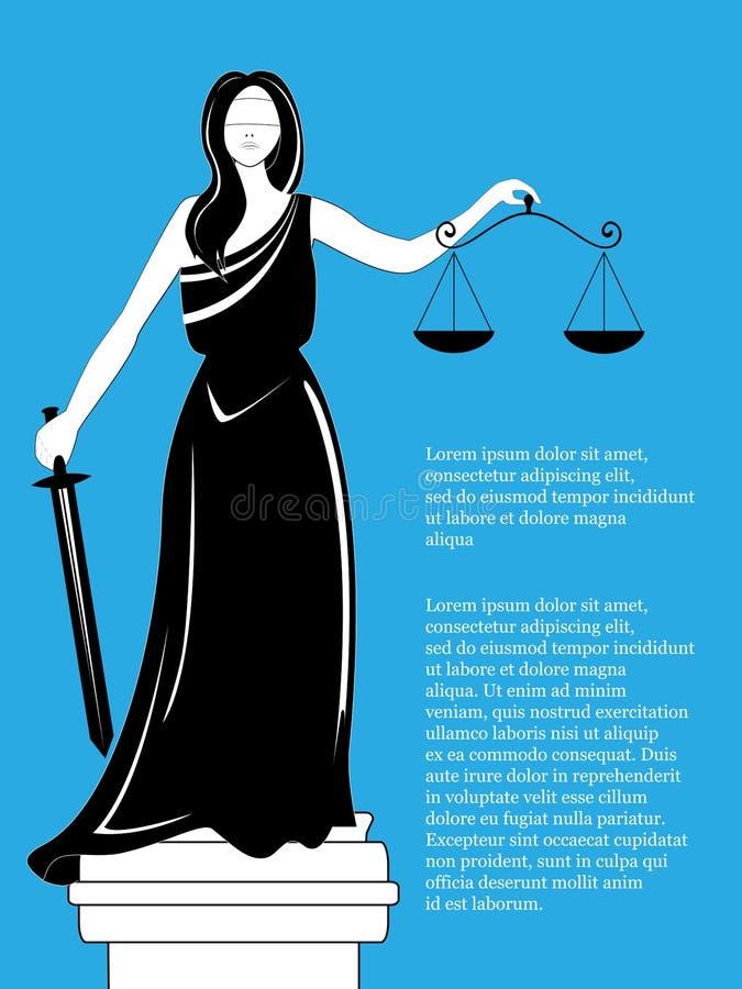 Gudinna av rättvisa Themis Femida Gudinna av rättvisa Femida med jämvikt och svärdet Themis staty royaltyfri illustrationer