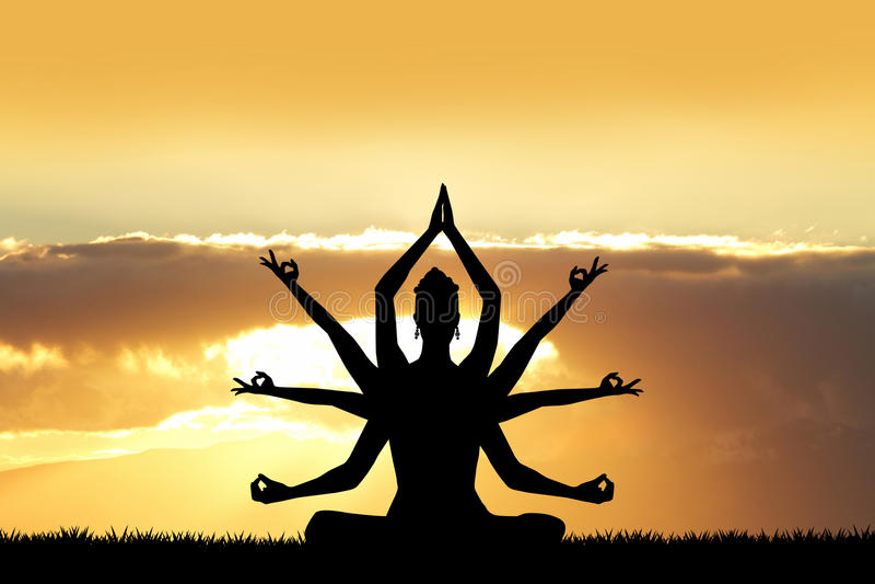 Gudinna Kali på solnedgången stock illustrationer