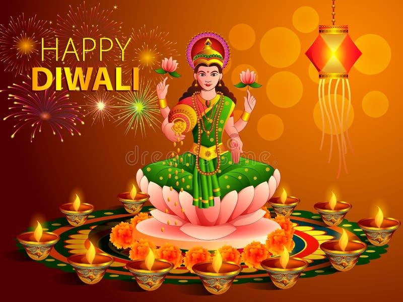Gudinna Lakshmi med den dekorerade diyaen för lycklig beröm för Dhanteras Diwali festivalferie av Indien som hälsar bakgrund stock illustrationer