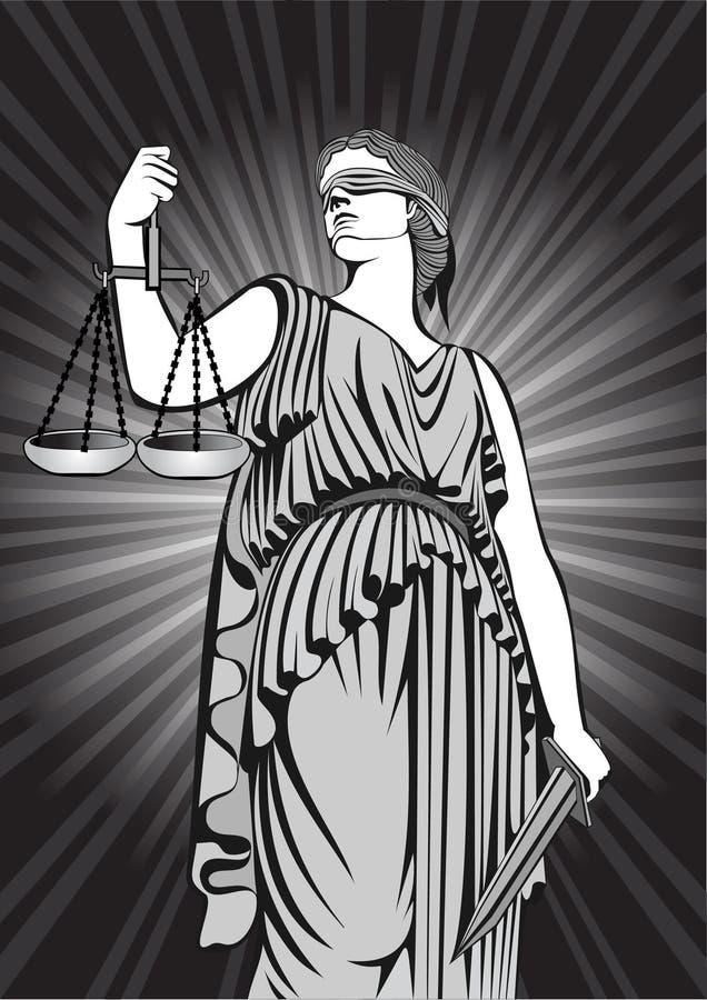 Gudinna Themis jämställdhet rättvisa domstol lag royaltyfri illustrationer