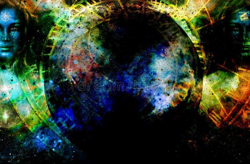 Gudinnakvinna i kosmiskt utrymme och zodiak royaltyfria bilder