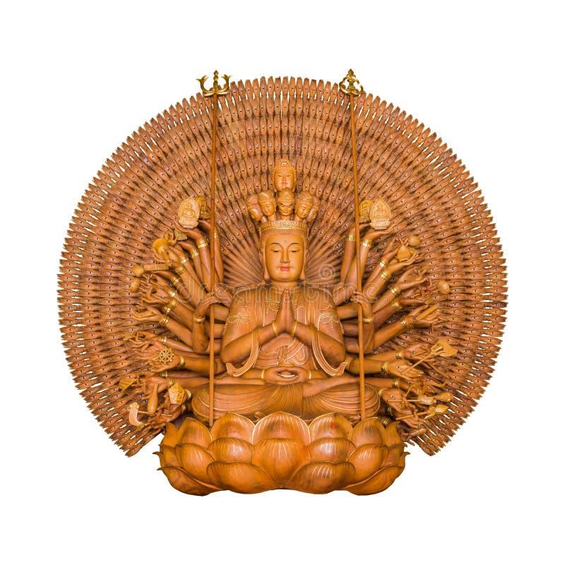 Gudinnan av pagoden för förskoningGuanyin Buddha tusen wood händer royaltyfri foto