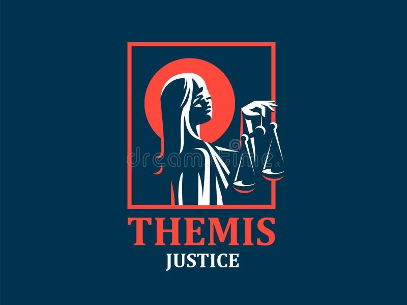 Gudinnan av rättvisa Themis stock illustrationer