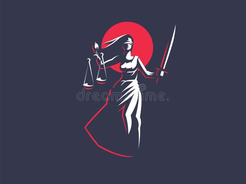 Gudinnan av rättvisa Themis vektor illustrationer