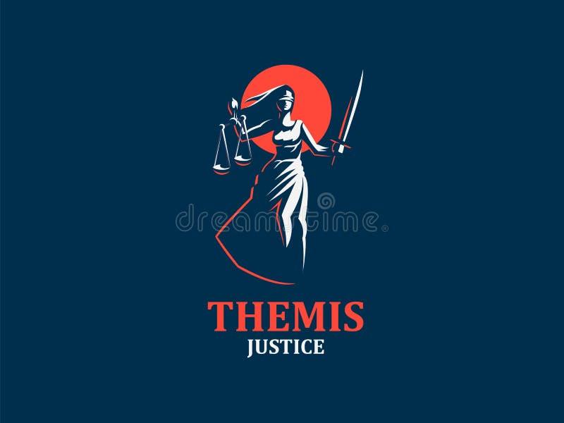 Gudinnan av rättvisa Themis royaltyfri illustrationer