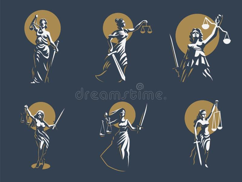 Gudinnan av rättvisa Themis Uppsättning vektor vektor illustrationer