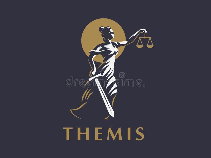 Gudinnan Themis med ett svärd av rättvisa och vikter i hennes händer stock illustrationer
