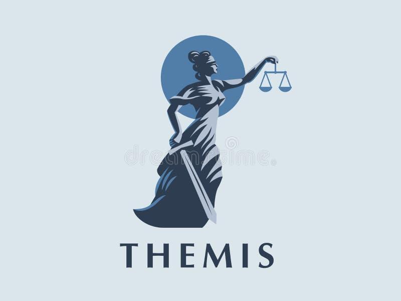 Gudinnan Themis med ett svärd av rättvisa och vikter i hennes händer royaltyfri illustrationer