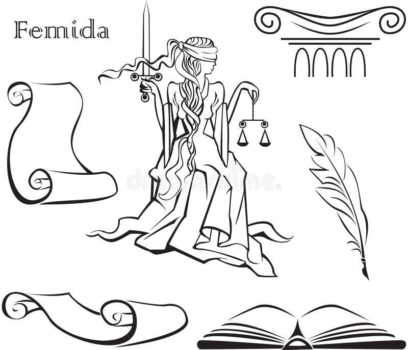 gudinnarättvisathemis royaltyfri illustrationer