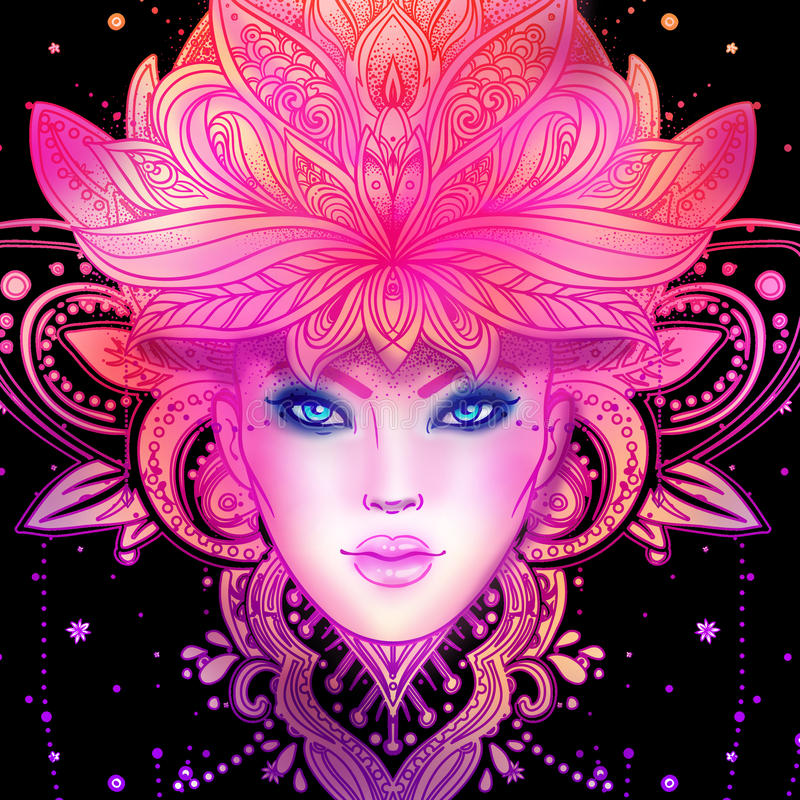 Gudomlig gudinna Stam- fusionBoho Diva Härlig asiatprästflicka med den utsmyckade kronan, kokoshnik Bohemisk dam royaltyfri illustrationer