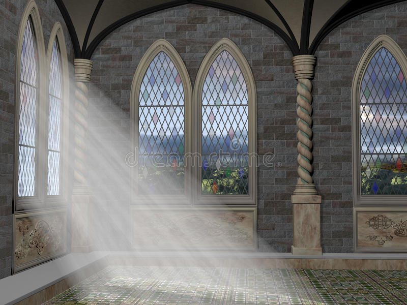 Gudstrålar till och med ett välvt fönster stock illustrationer