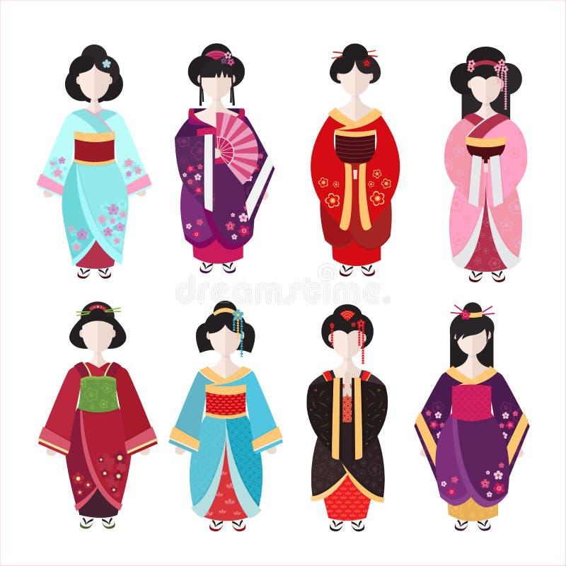 Gueixa japonesa na ilustra??o lisa do vetor do quimono ilustração stock