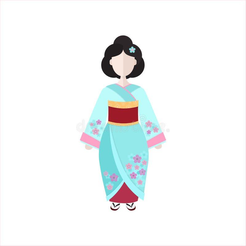 Gueixa japonesa na ilustração lisa do vetor do quimono ilustração royalty free