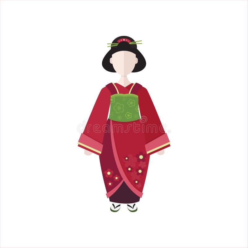 Gueixa japonesa na ilustração lisa do vetor do quimono ilustração do vetor