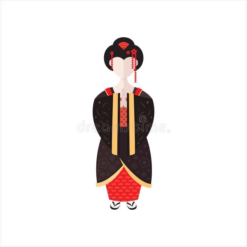 Gueixa japonesa na ilustração lisa do vetor do quimono ilustração stock