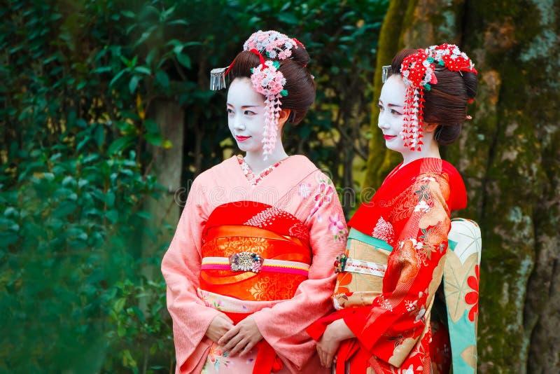 Gueixa - Maiko em Gion District em Kyoto, Japão imagem de stock
