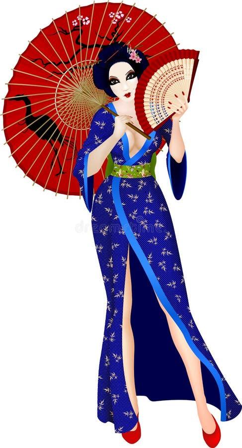 Gueixa 'sexy' de japão ilustração royalty free