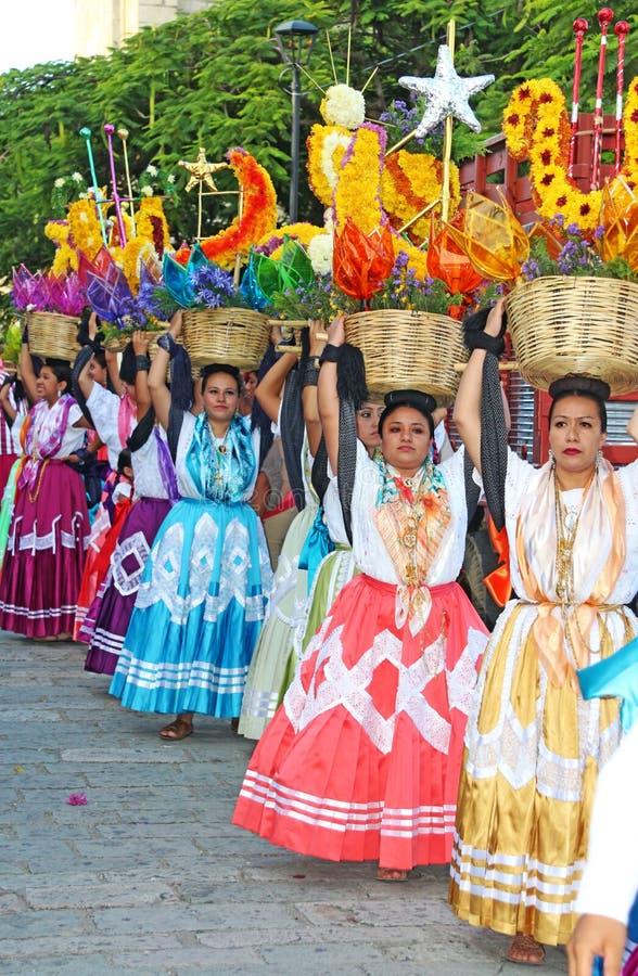 Guelaguetza festival, Oaxaca, 2014. Parade of traditional Mexican dancers at the Guelaguetza festival, Oaxaca on July 25, 2014 royalty free stock photos