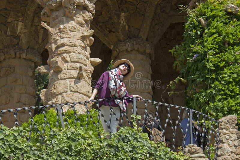 Guell公园的,巴塞罗那游人 库存照片