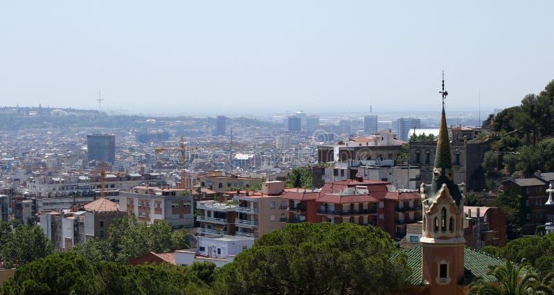 从Guell的巴塞罗那视图 库存照片