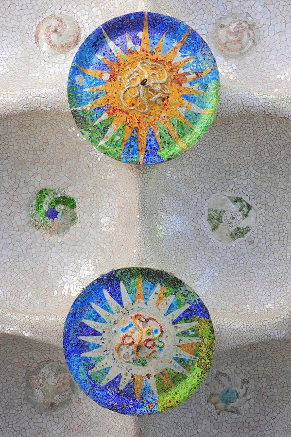 Guell mosaics by Gaudi stock image