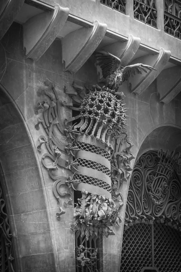 The Guell palace designed by Gaudi, in Barcelona stock photo