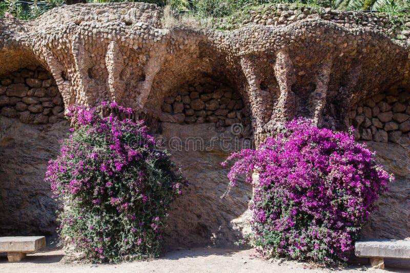 Guell Park Barcelona Catalunia Spanien royaltyfria bilder