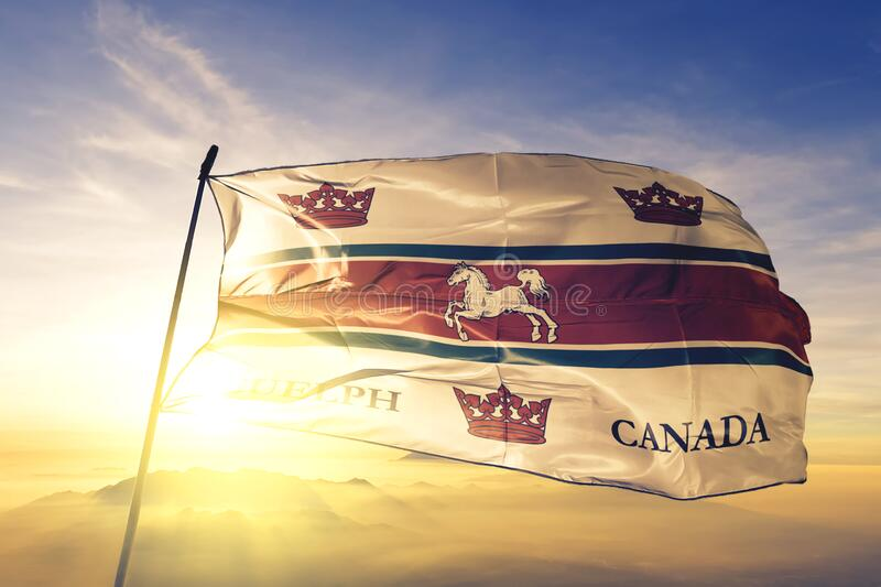 Guelph of Ontario of Canada flag waving on the top sunrise mist fog. Guelph of Ontario of Canada flag textile cloth fabric waving on the top sunrise mist fog royalty free stock photography