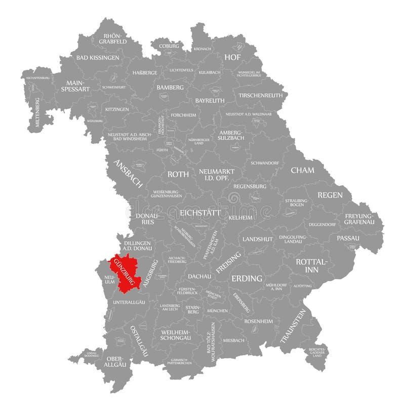 Guenzburg okręgu administracyjnego czerwień podkreślająca w mapie Bavaria Niemcy ilustracja wektor