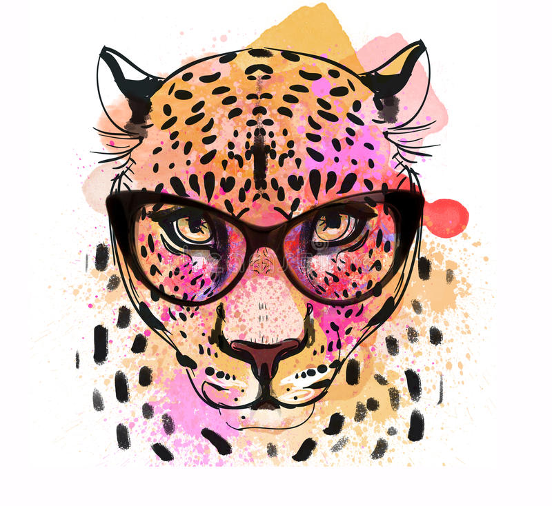 Guepard character colorful portrait. Guepard fashion colorful character portrait with glasses stock illustration