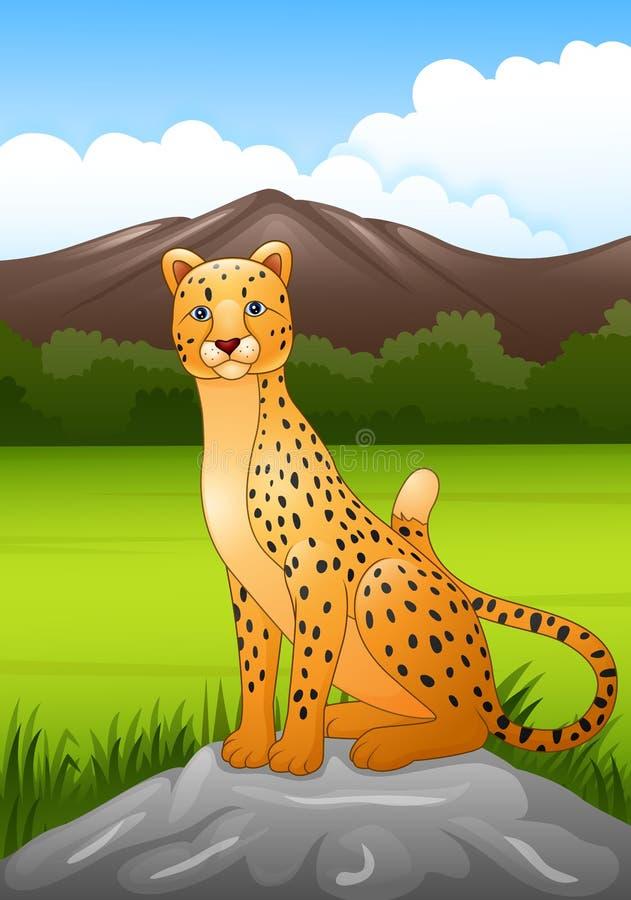 Guepardo de la historieta que se sienta en una roca en sabana africana libre illustration