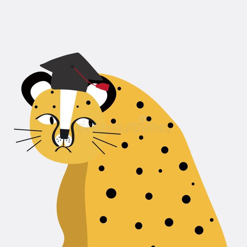 Guepardo lindo que lleva un vector del sombrero de la graduación libre illustration