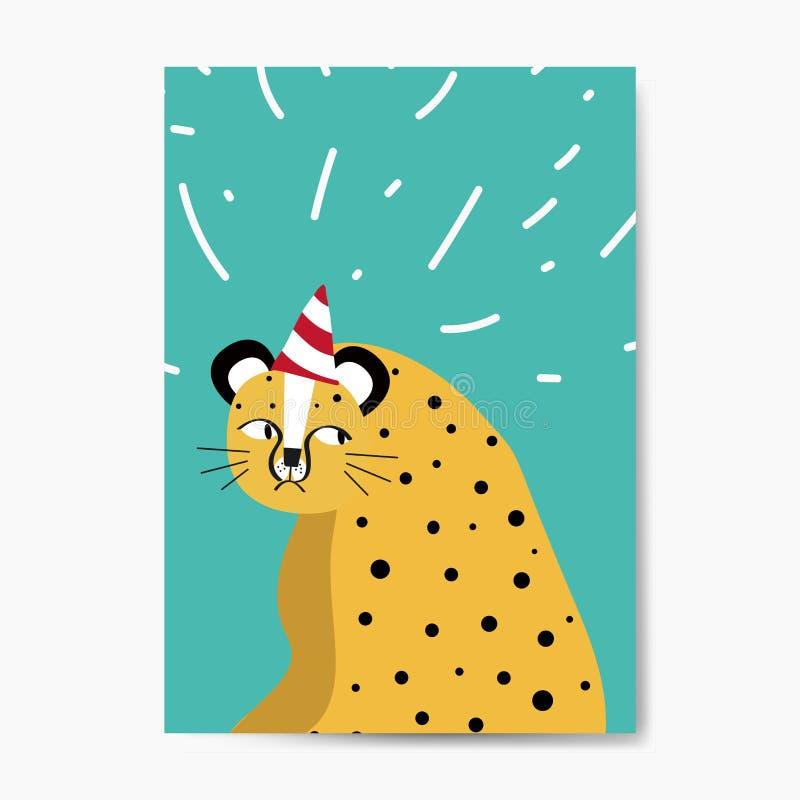 Guepardo lindo que lleva un vector del sombrero del partido stock de ilustración