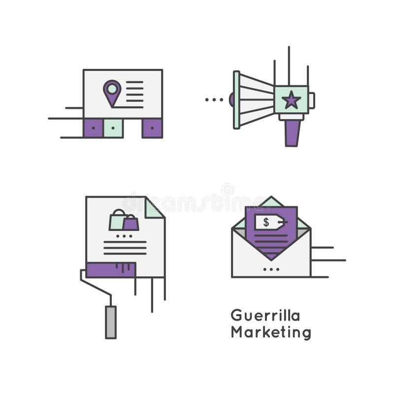 Guerilla marketing het concept van de reclamestrategie royalty-vrije illustratie