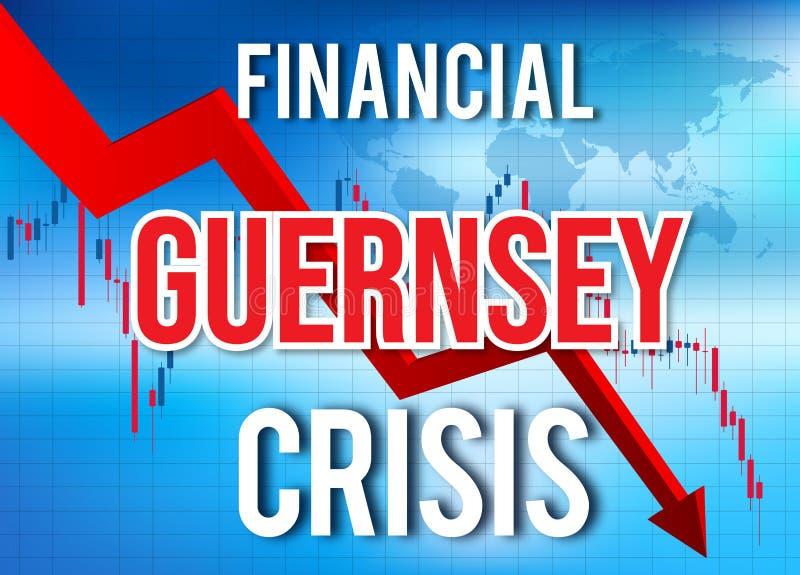Guernsey Financial Crisis Economic Collapse Market Crash Global Meltdown. Illustration stock illustration