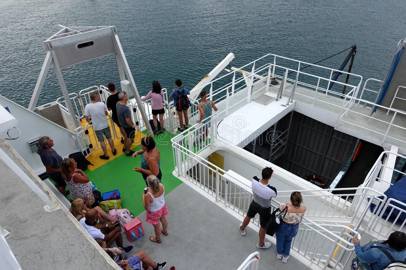 Foot passengers waiting to disembark from a Condor ferry stock photo