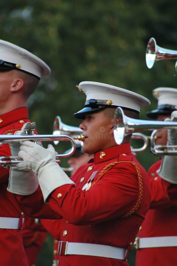 Guerra Arlington memorável de Iwo Jima - cerimónia do por do sol foto de stock royalty free