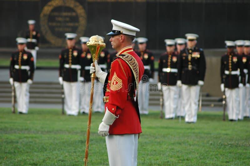 Guerra Arlington memorável de Iwo Jima - cerimónia do por do sol imagem de stock royalty free