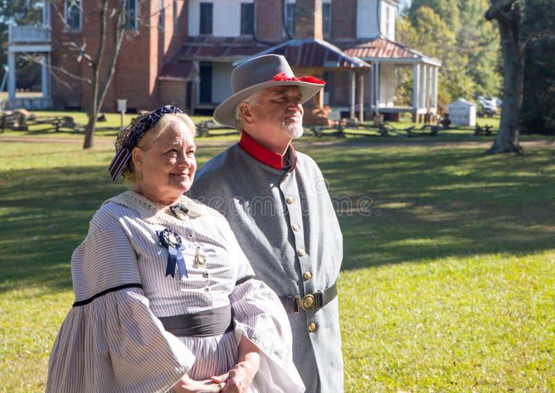 Guerra civil americana Reenactors em trajes de período imagens de stock royalty free