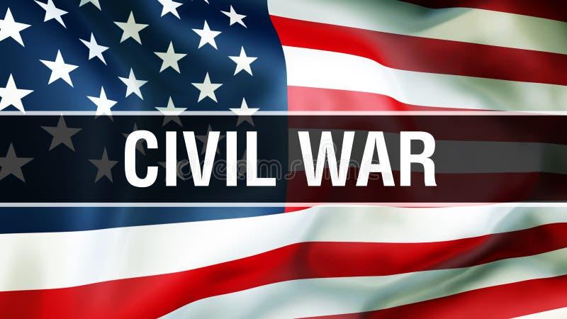 Guerra civil em um fundo da bandeira dos EUA, rendição 3D Bandeira de Estados Unidos da América que acena no vento Bandeira ameri ilustração do vetor