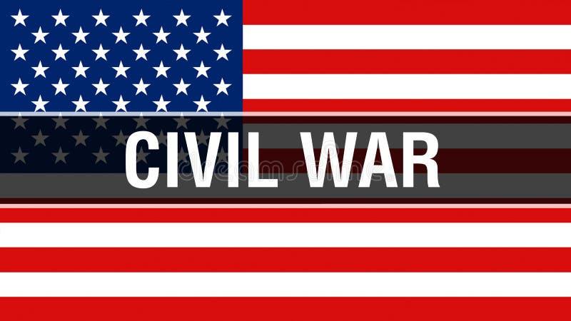 Guerra civil em um fundo da bandeira dos EUA, rendição 3D Bandeira de Estados Unidos da América que acena no vento Bandeira ameri ilustração royalty free