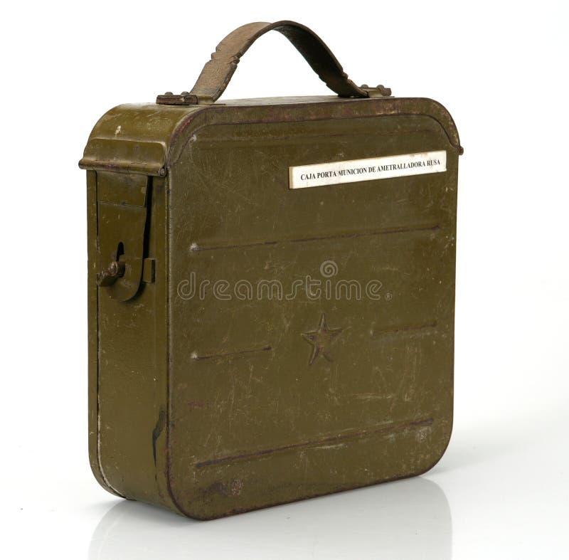 Guerra civil española Munición de Porta de la caja metálica del origen soviético foto de archivo