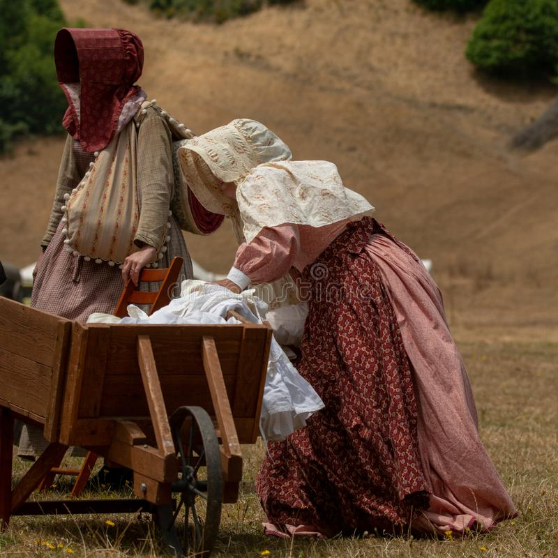 Guerra civil re-enactement em moinhos de Duncans, CA, EUA imagens de stock royalty free