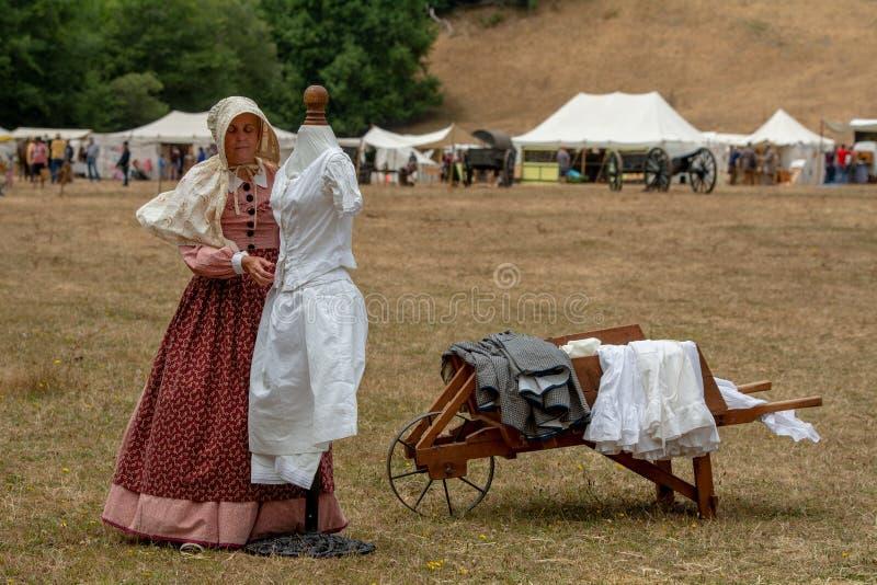 Guerra civile ri--enactement in mulini di Duncans, CA, U.S.A. fotografia stock libera da diritti
