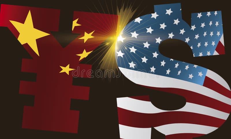 Guerra comercial debida de Yuan y de la lucha del dólar, ejemplo del vector stock de ilustración