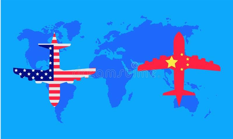 Guerra comercial el avión transporta el mapa del mundo asociado de la fábrica de la compañía Ilustraci?n EPS10 del vector stock de ilustración
